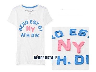 美國正品Aeropostale[Aero] 美式白色休閒圓領短袖T / S ( 編號:2130 )