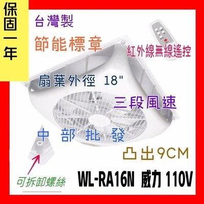 循環扇批發 威力 18吋 WL-RA16N 輕鋼架節能扇 輕鋼架循環扇 崁入式風扇 嵌入式電風扇 嵌入式節能扇 太空扇