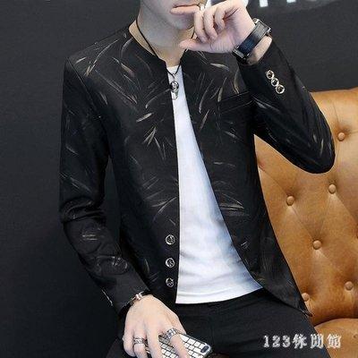 中大尺碼西裝外套 休閒西服男立領韓版潮流修身帥氣外套秋季新款時尚男士LB8998