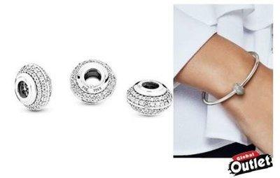 【全球購.COM】PANDORA 潘朵拉鑲鑽新款閃亮密釘串珠 925純銀 美國正品代購