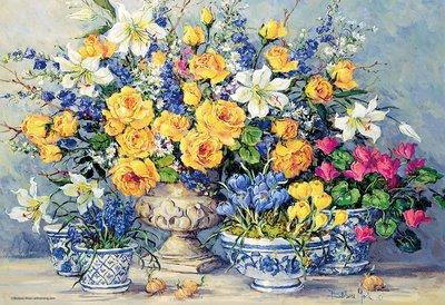 日本進口拼圖 繪畫 來自陽光的花朵 Barbara Mock 1000片絕版拼圖 M81-569