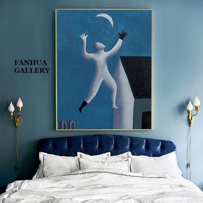 C - R - A - Z - Y - T - O - W - N 夢裡不歸牛頓管 趣味藍色時尚房間客廳裝飾畫小眾藝術創意餐廳掛畫精品文青民宿旅店裝飾品版畫