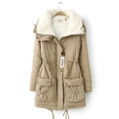 東大門平價鋪  新款女純色加厚羊羔絨外套,保暖連帽拉鍊棉夾克衣服,有9色