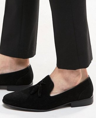 ◎美國代買◎ASOS流蘇裝飾麂皮質感英倫雅痞風流蘇麂皮宮廷風黑色極簡皮鞋~歐美街風~大尺碼~