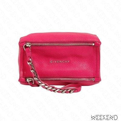 【WEEKEND】 GIVENCHY Pandora Logo 潘朵拉 皮革 腕帶 手拿包 桃紅色 18春夏新款