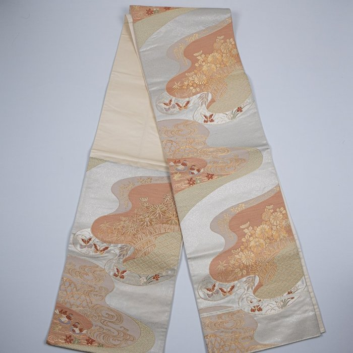 【吳苑】 六通 袋帶 名古屋帶 秋冬色系 和服腰帶 日本 古美術 茶道具 花道具 書道具 AN0363