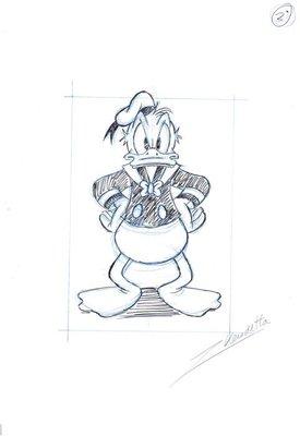 迪士尼 漫畫師 藝術家Z. Vendetta原創藝術作品驚訝的唐老鴨 原始素描附簽名, 附證書