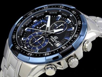 【金台鐘錶】CASIO 卡西歐 (EFR-539D-1A2) 防水100米 獨立日期顯示窗格 三針三眼計時碼表