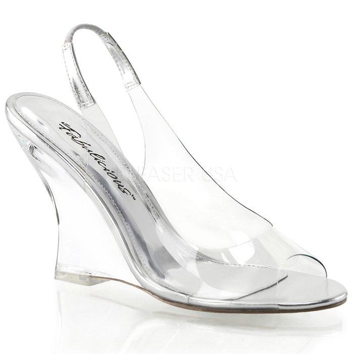 Shoes InStyle《四吋》美國品牌 FABULICIOUS 原廠正品透明楔型高跟涼鞋 有大尺碼『銀色』