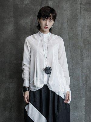 Dark.Q BLACK 輕薄透視2色黑白襯衫