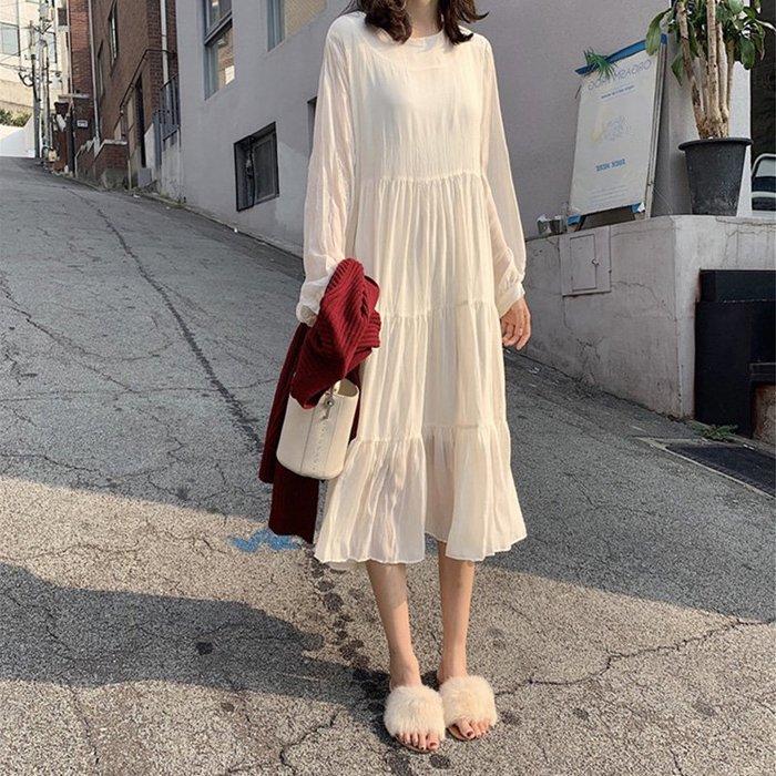 [C.M.平價精品館]S~XL/寬鬆舒適飄逸仙氣法式長版長袖洋裝