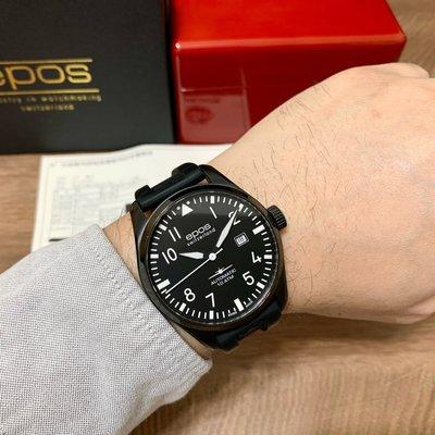 epos PILOT 飛行員機械腕錶 SPORTIVE 3401 公司貨盒單全 ETA2824-2機芯 44mm