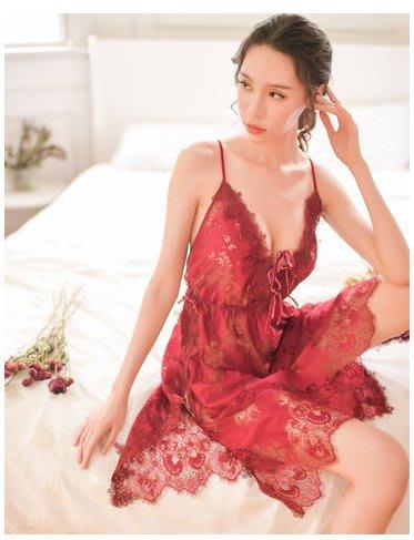 ♥PK漂亮♥ F18106 情趣性感冰絲薄款透明深V領法式火辣調情細肩帶短裙睡衣 酒紅粉灰黑4色