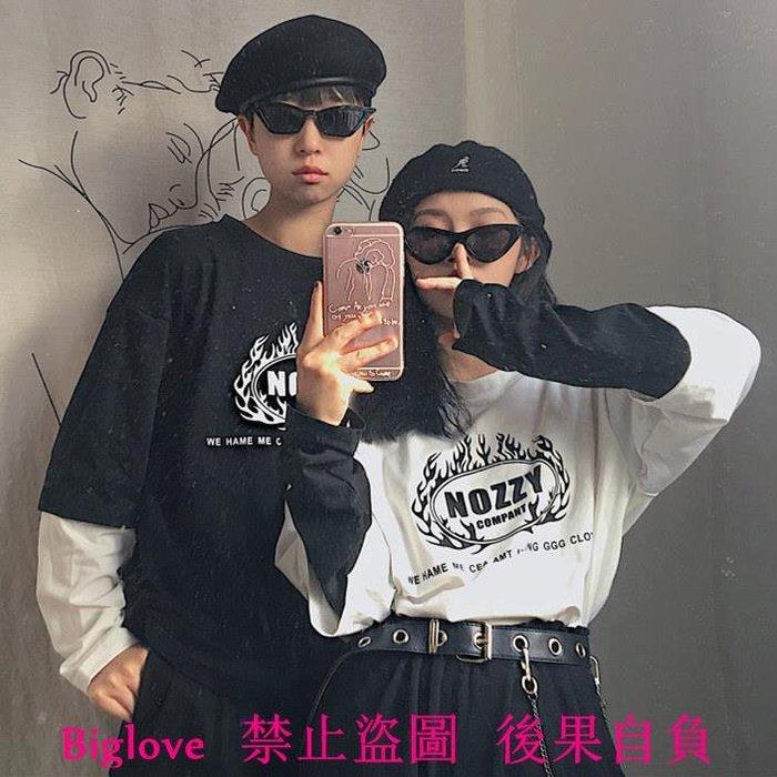 韓國復古火焰框字母印花假兩件長袖T恤 18AW男女款
