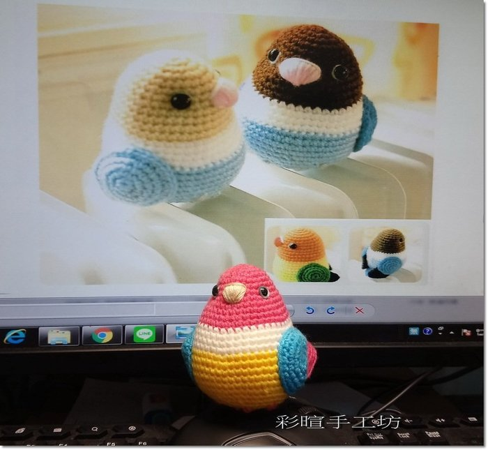 編織娃娃~小鳥一對 材料包~毛線、棉線、紙線、麻繩、苧麻~手工藝材料、進口毛線、編織工具、書☆彩暄手工坊☆