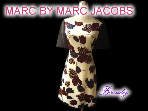 *Beauty*MARC BY MARC JACOBS珍珠白緞面印花黑短袖洋裝 WE14