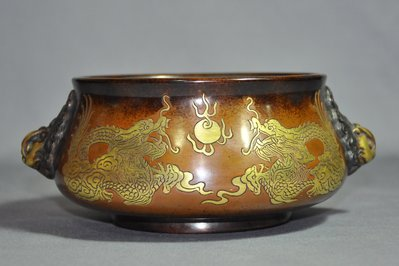 【緣古】銅爐 吳邦佐製款 銅鎏金龍紋天雞耳爐