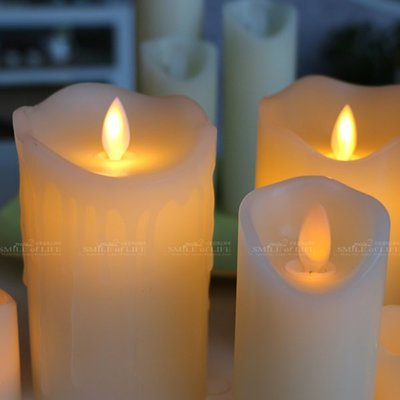LED 15CM*直徑7.5CM 流蠟充電款/仿真電子蠟燭火苗搖擺晃動 無煙汙染/各類佈置☆SMILE 創意商品批發