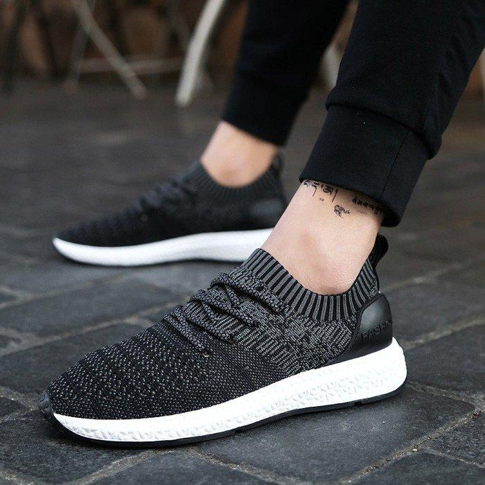 時尚男鞋2018爆款男鞋飛織透氣休閑運動鞋夏季帆布鞋