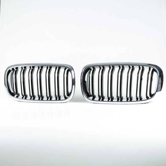 [鍍鉻+亮黑] X6M Look 水箱罩雙柵欄鼻頭 BMW X5 F15 F85 X6 F16 F86適用/汽車外飾交換