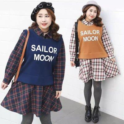 ✿plump girl 韓系✿大尺碼女裝假兩件設計印花連衣裙K278