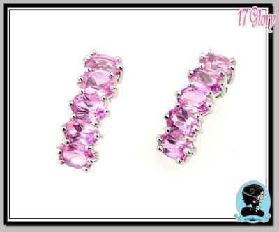亮麗耀眼粉紅色925純銀晶鑽耳環~ 歐...
