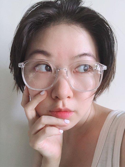 SEYES 百搭雜誌款自然風復古基本款透明大框小臉眼鏡