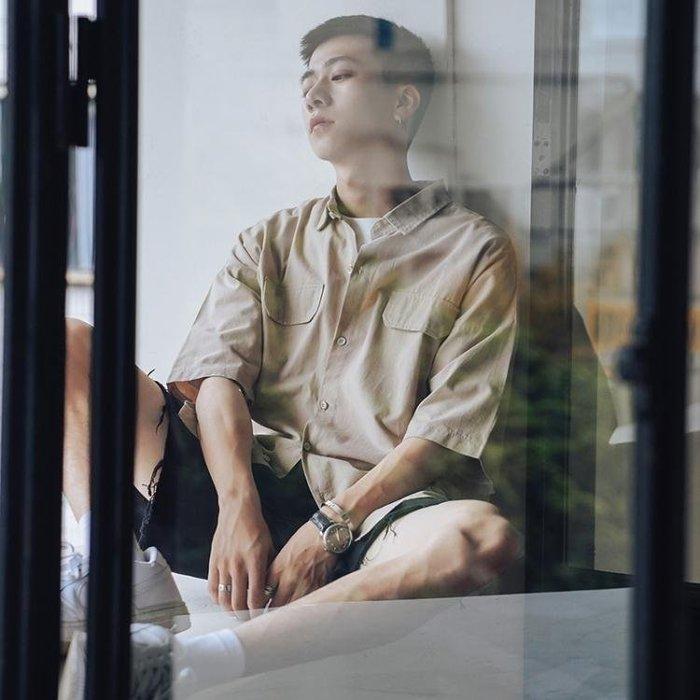 麥麥部落 夏季復古工裝風印花短袖襯衫男士百搭半袖寬鬆舒適舒適自然中袖襯衣潮MB9D8