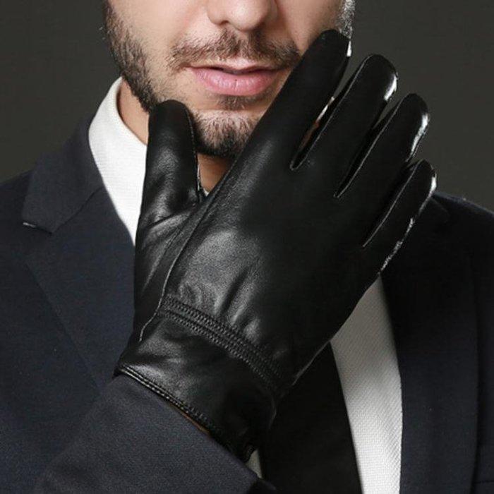 男手套 真皮手套 觸屏男士冬季加絨保暖開車羊皮手套戶外騎行手套yx733