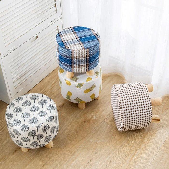 億家達換鞋凳現代簡約小矮凳實木圓凳創意門口穿鞋凳子布藝沙發凳