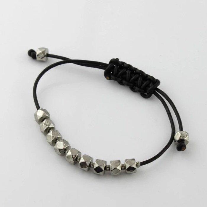外銷歐美💃新款日韓飾品個性簡約帥氣皮繩手鍊手環單層金屬顆粒手環長度可調節首飾出清