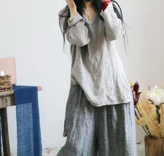 【子芸芳】禪意樸素寬鬆簡約百搭鎖骨V領顯瘦顯白棉麻衫
