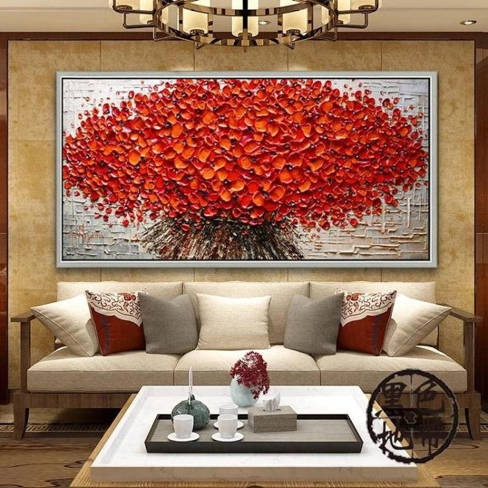 純手繪歐式橫幅油畫客廳沙發滿堂紅發財樹立體掛畫臥室餐廳裝飾畫