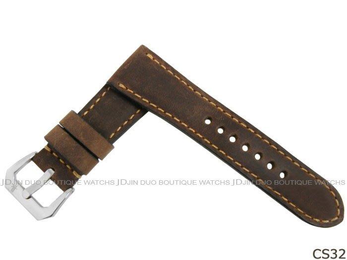 金鐸精品~CS32 沛納海 PANERAI 咖啡色牛皮手工皮錶帶