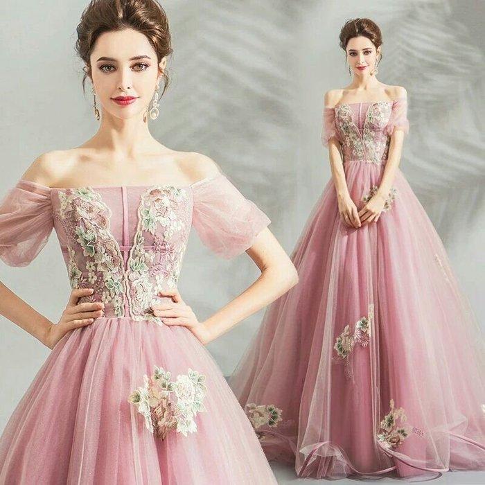 天使佳人婚紗禮服旗袍~~粉色刺繡燈籠袖長版禮服
