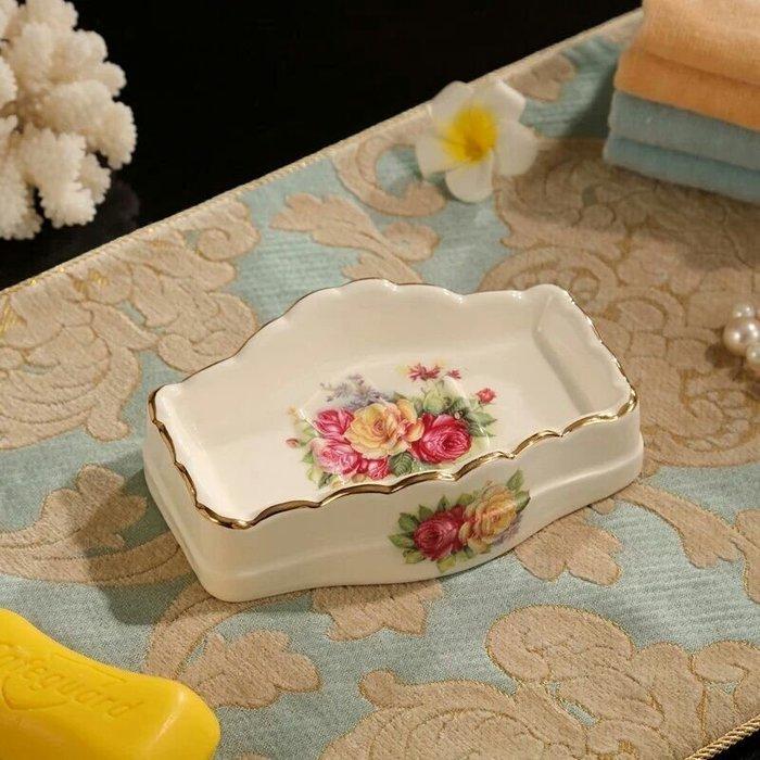 粉紅玫瑰精品屋~歐式陶瓷燦爛玫瑰香皂盒~
