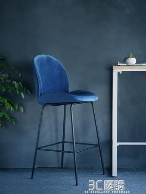 【免運】北歐靠背吧台椅鐵藝酒吧椅休閒家用高腳凳子簡約前台椅奶茶店吧凳HM【自由拍賣】