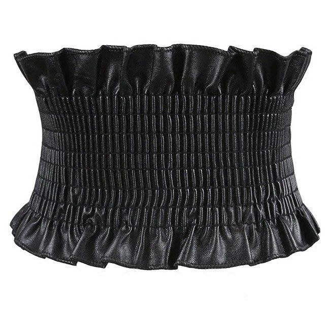 腰封皮帶 簡約 百摺 抓皺 花邊 彈性 鬆緊 腰封 搭釦 寬版 腰帶【SB857】