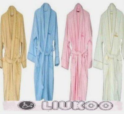 LIUKOO煙斗純棉100%超厚浴巾布超保暖浴袍2件 貨到再