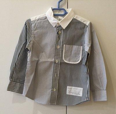日本設計師童裝品牌 Arch & Line 男童拼接條紋長袖襯衫(灰白條紋)-日本製 clearance sale