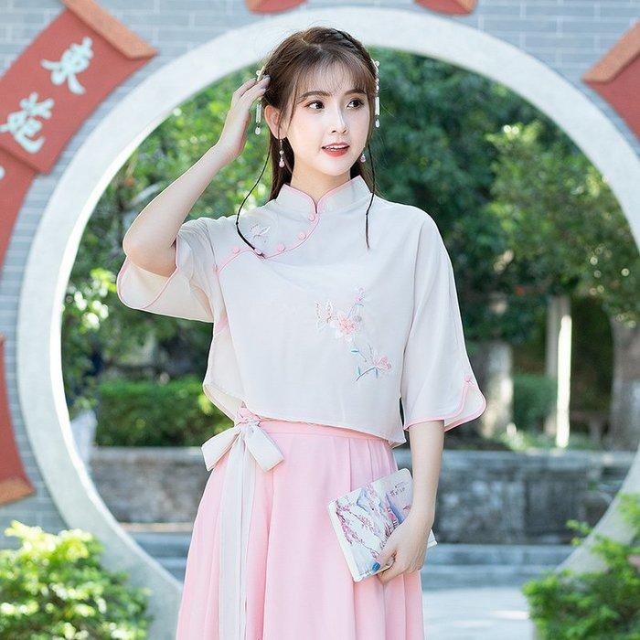 壹月☀2019夏季新款中國風文藝小清新復古繡花T恤中式蝙蝠袖上衣少女裝