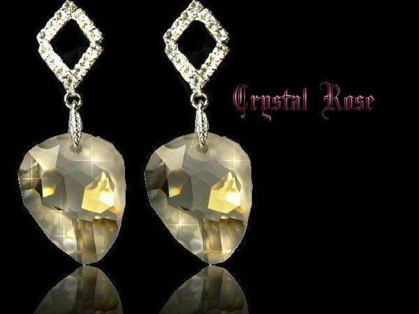 ※水晶玫瑰※ SWAROVSKI 原石水晶吊墜 進口菱形鑲鑚耳針式耳環(DD068)~2色可選