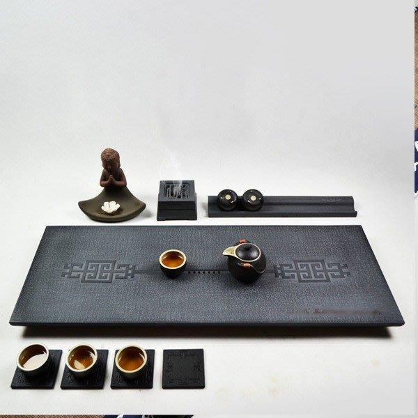 5Cgo【茗道】含稅會員有優惠 42999710939將相和烏金石茶盤茶臺茶船 黑金石茶海石頭石材茶具功 60*30cm