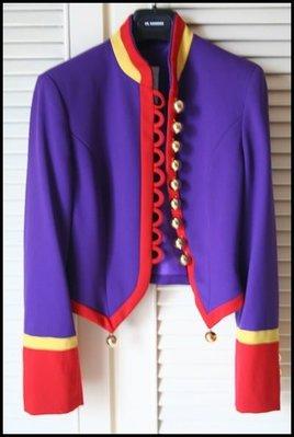 原價$23萬 真品Moschino紫色紅邊拿破崙金扣軍裝風秀服