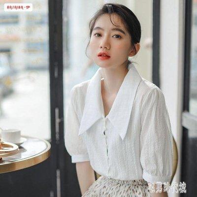 棉麻襯衣 氣質短袖文藝清新復古潮流洋氣寬鬆五分袖襯衫 zh2046