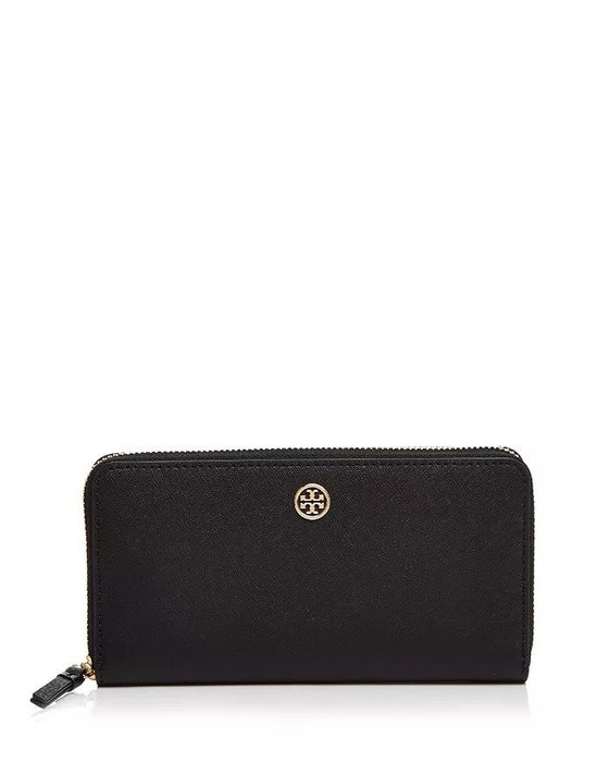 Coco小舖 Tory Burch Robinson Leather Continental Zip Wallet 黑色
