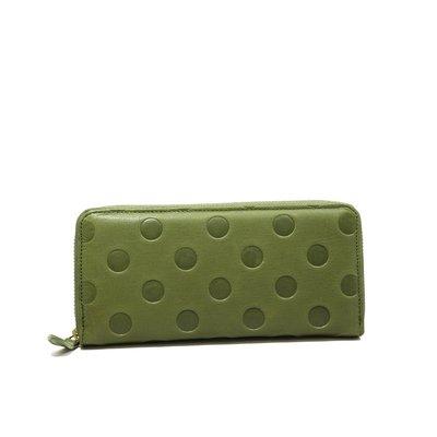 日本製 un signet 綠色 真皮長夾 點點風皮夾 牛皮 3色可選 日本正品 職人手作 拉鍊式長夾 錢包 小G日代