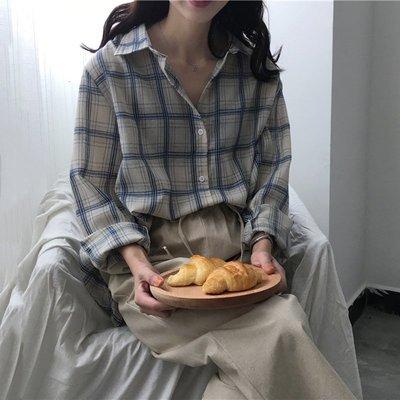 復古長袖格子襯衫女2018春裝新款韓版寬松顯瘦休閑百搭中長款上衣