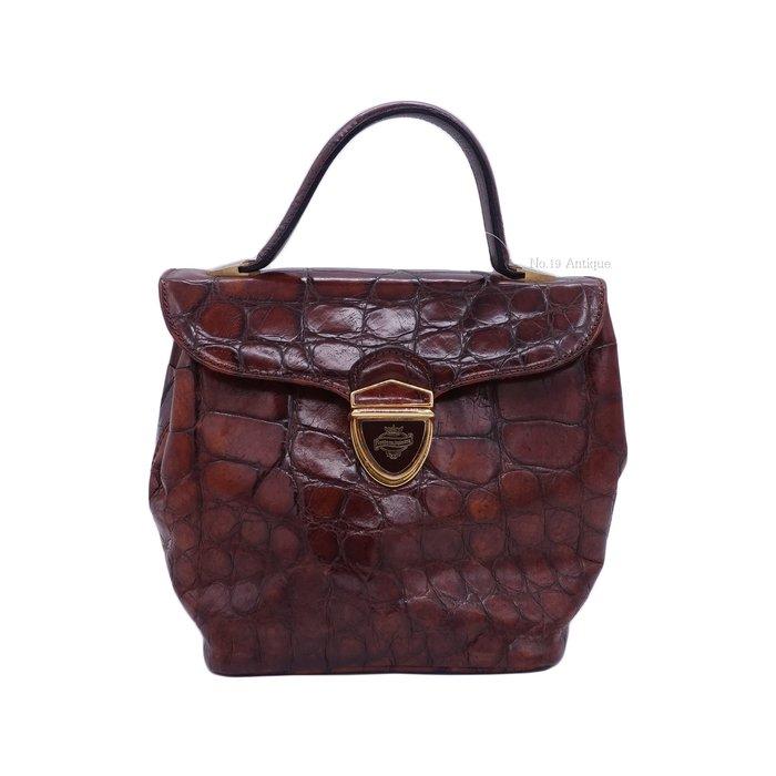 《十九號二手屋》Vintage義大利Montenapoleone壓鱷魚紋真皮古董包-咖啡色 手提斜背兩用