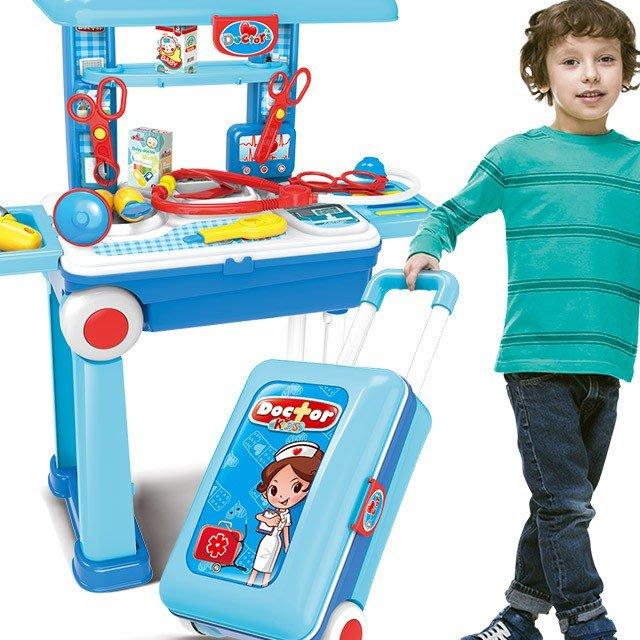 小小醫師2合1拉桿旅行箱移動工具組~醫護仿真工作桌台~家家酒玩具~童心玩具1館